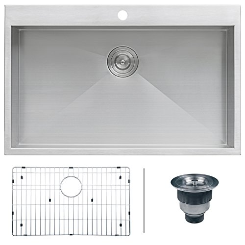 Ruvati RVH8000 Drop-in Overmount 33'' x 21'' Kitchen Sink 16 Gauge Stainless Steel Single Bowl by Ruvati
