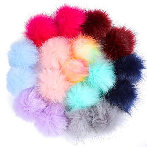 66e6f2c0332ec Belloc 2019 18 Pieces Colorful Faux Fur Fluffy Pompom Ball with Rubber Band  for Hat Shoes Scarves Bag Charms (Mix Bright Color)