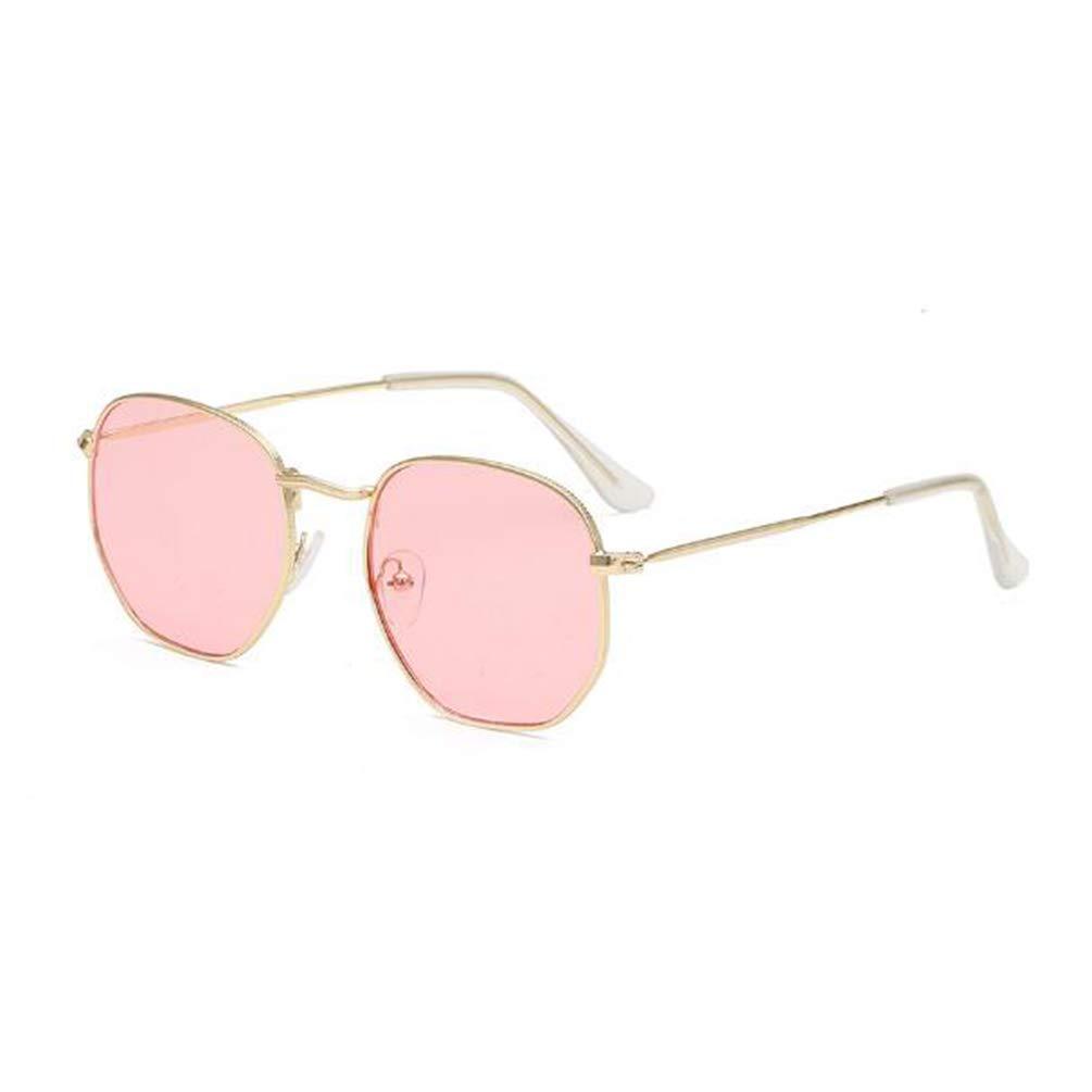 Metal polygonal flat sunglasses women men sunglasses safety explosion-proof glasses (Gold Frame Transparent Powder)