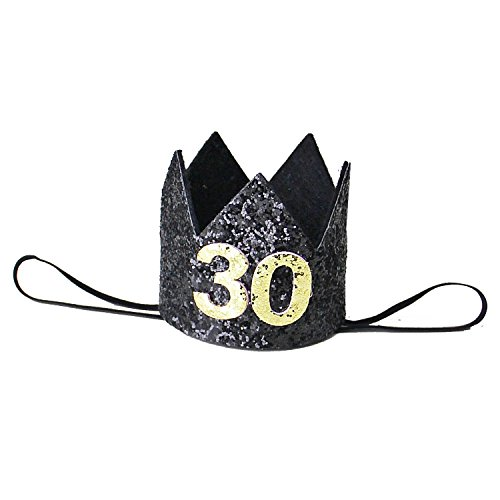 Kirei Sui Adult 30th Birthday Glitter Crown Headband Black & Gold