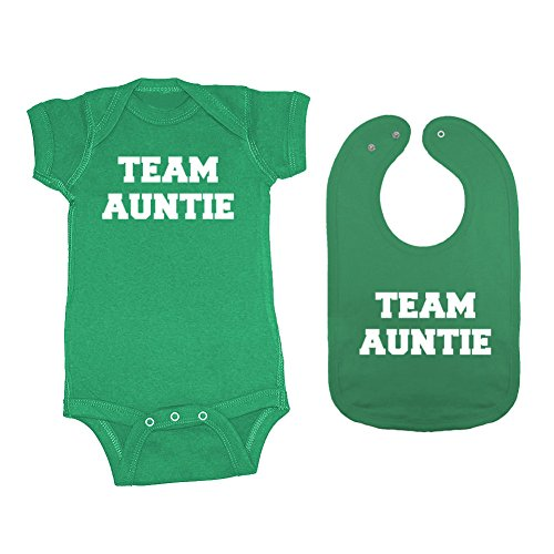Mashed Clothing 2-Pack Unisex-Baby Team Auntie Bodysuit & Bib Set (Kelly, Newborn)