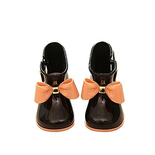 Meijunter Niedlich Mädchen Kinder Baby Bow Bogen Anti-rutschend Rainboots Regen Stiefel Gummi Prinzessin Rain Shoes Boots Regen Schuhe Black