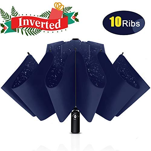 Bodyguard Inverted Windproof Umbrella with Teflon Coating, 10 Ribs Auto Open and Close Travel Umbrella, Portable Reverse Umbrellas with Leather Cover