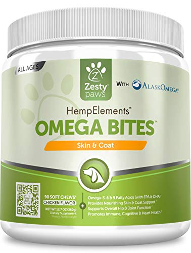 Zesty Paws Omega Bites Soft Chews – with AlaskOmega for EPA & DHA Omega-3 Fatty Acids to Support Normal Skin Moisture…