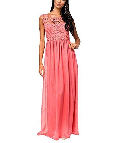 Espalda Flores Produnda Vestido Novia Larga de Encaje Rojo Vino Mujer V Vestido de Vintage ZhuiKun zB0Xqw0
