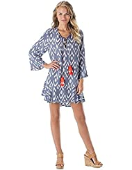 Mud Pie Tenley Tassel Rayon Moss Cover Up In Periwinkle Ikat Womens Clothing Dress Blue