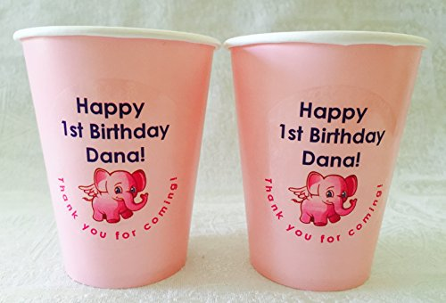 24 Personalized Classic Pink hot/cold 9 oz. Cups For little girls 1st, 2nd, 3rd etc... Birthday/Party Supply