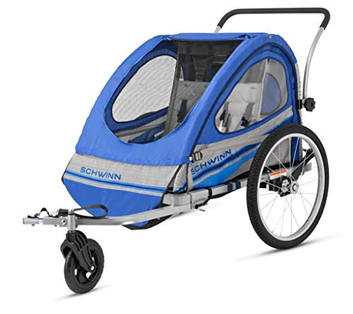 (Pacific Cycle Schwinn Trailblazer Double Bicycle Trailer,Blue/Gray)