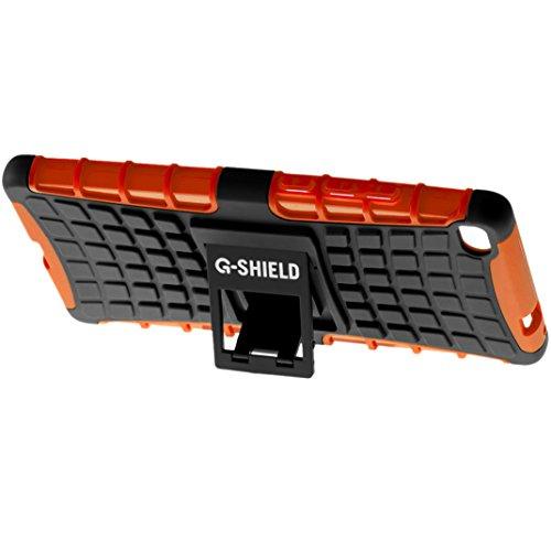Funda Huawei P8, G-Shield Carcasa Extremo Protección [Con Soporte] [Anti-Arañazos] [Anti-Choque] [Muy Resistente] Híbrida a Prueba de Golpes Case Cover Para Huawei P8 - Rosa Naranja