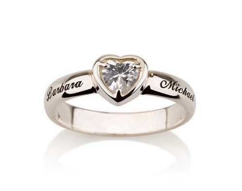 Engraved Heart Ring Promise Ring in Sterling Silver Couple's Ring