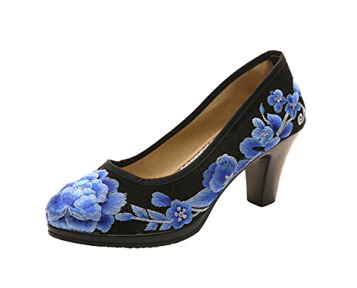AvaCostume Womens Luxury Embroidery Satin High Heel Cheongsam Shoes, Black 34