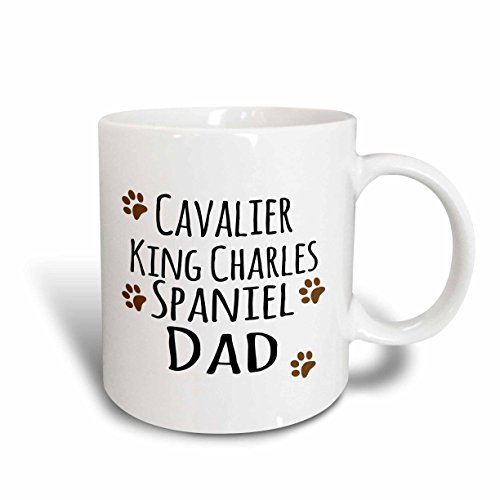 3dRose 153882_2 Cavalier King Charles Spaniel Dog Dad - Doggie by breed - brown muddy paw prints Mug, 15 oz, Ceramic