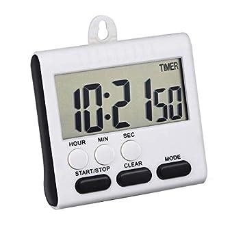 SODIAL (R) magnético alarma temporizador Digital de cocina reloj de 24 horas temporizador con soporte, pantalla grande (azul): Amazon.es: Hogar