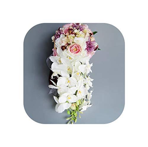 Blue Waterfall Wedding Bouquets Silk Flower Bouquet Fleur Mariage Pink Wedding Flowers Bridal Bouquets,Picture -