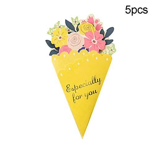 [해외]SEniutarm 5Pcs Folding Greeting Card Floral Triangle Wedding Invitation Christmas Ornament Yellow / SEniutarm 5Pcs Folding Greeting Card Floral Triangle Wedding Invitation Christmas Ornament Yellow