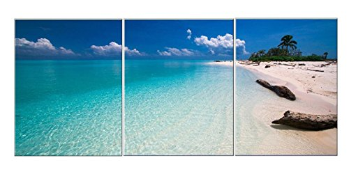 Amoy Art -3 Panel Canvas Wall Art for Home Decor Blue Sea Beach Painting Picture Print On Canvas Seascape Pictures For Home Decoration Framed Ready to (Beach Framed Poster)