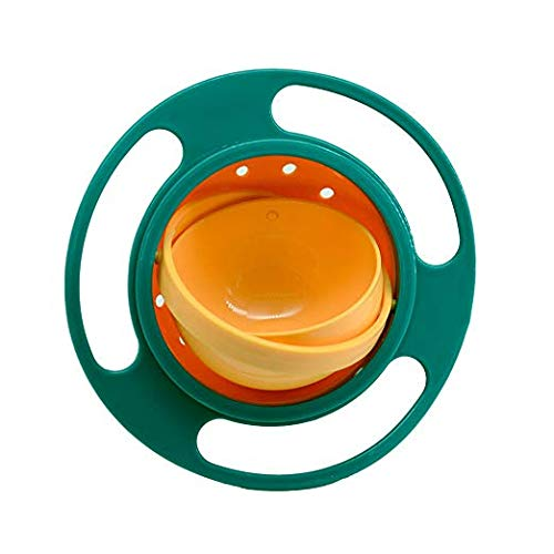 Gyro Swing - Children Baby Kids Bowl 360 Degree Rotation Spill Resistant Gyro Magic Bowl with Lid (green)