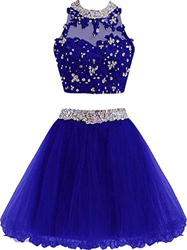 Chupeng Cute Lace Homecoming Dress Two Piece Prom Dress for Teens Ball Gown Bridesmaid Dresses Applique RoyalBlue 2