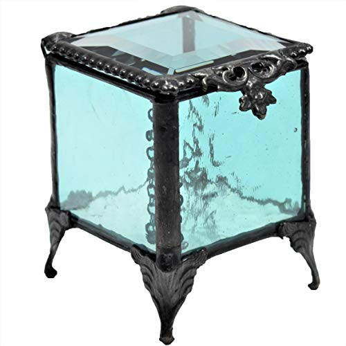 J Devlin Box 153 Series Stained Glass Trinket Keepsake Jewelry Display Crystal Ring Box (Aquamarine Blue)