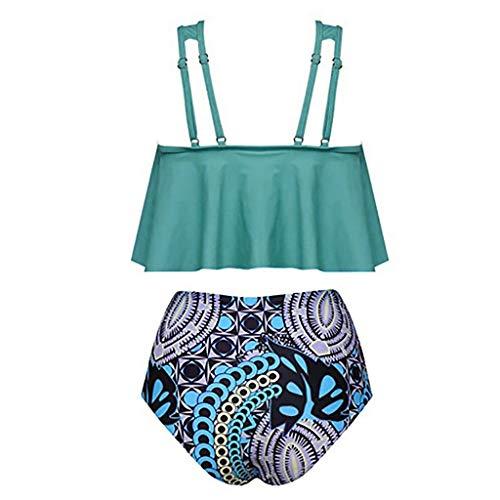 Sumen Women Two Piece Bikini Sets Swimsuits Ruffled Top Bathing Suits for Women Sky Blue