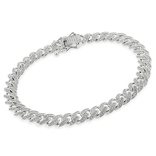 925 Sterling Silver 8.5mm Miami Cuban CZ Iced Out Bling Bracelet Chain Rhodium Plated 9'' by In Style Designz