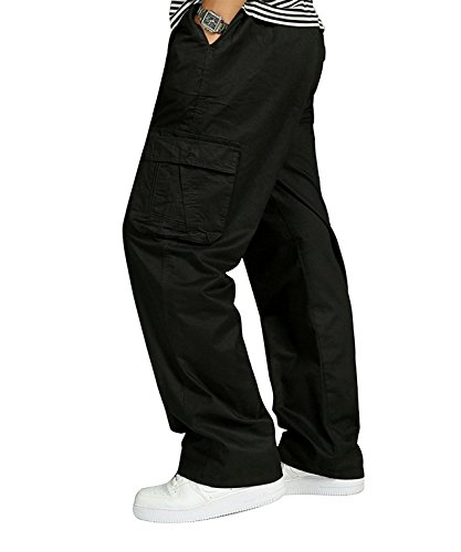Men's Plus Size Elastic Cargo Pants Stretchy Waist Loose Fit Cotton Casual Military Work Athletics Beach (Athletic Classic Belt)