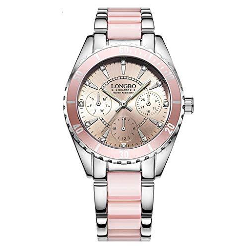 - Womens Wrist Watch, Geneva Casual Fashion Luxury Crystal Quartz Analog Stainless Steel Band Watch with Box Daoroka (Pink)