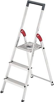 Hailo ProfiLine S150 HYMER – Escalera de aluminio (3 peldaños, sujeción, gancho para cubo gris, soporta hasta 150 kg) 8933 – 027: Amazon.es: Bricolaje y herramientas
