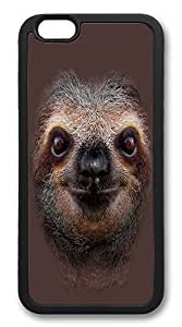 iPhone 6 Case, Soft Flexible TPU Bumper Protective Case Black Skin Scratch-Proof Case for iPhone 6 (4.7 inch) - Sloth Face Pattern