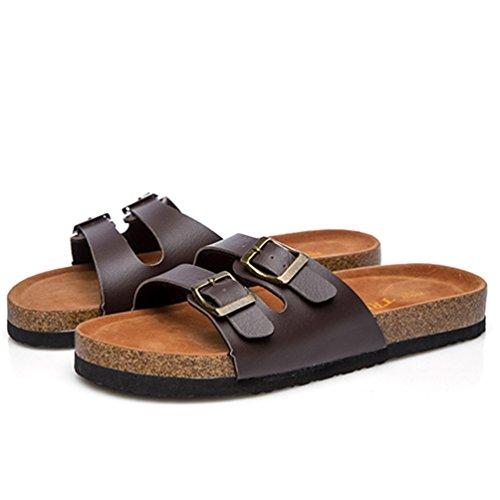 ZKOO Mujeres Vendaje Chanclas de Hebilla Corcho Punta Abierta Zapatos Planas Sandalias De Playa Verano Zapato Casual Marrón