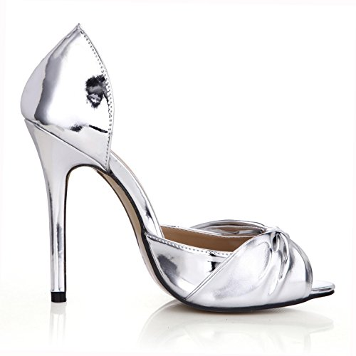 4u Shoes Gold Basic Pumps Summer Sandals Zipper 12cm Ruffled Bow Silver Mirror High Pu Rubber Best Women's Sole Heels FwaqdFA