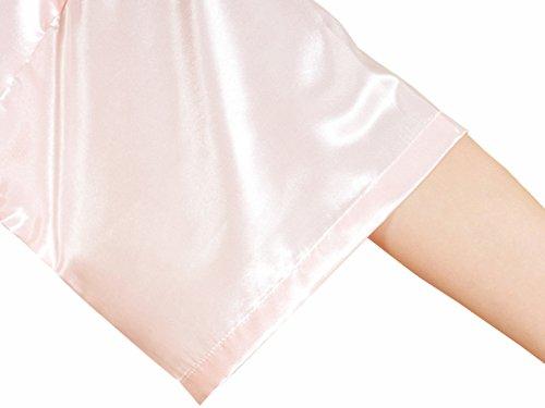 Feoya Pyjamas robe Satin Long Peignoir avec Poches pour Homme Femme - Rose