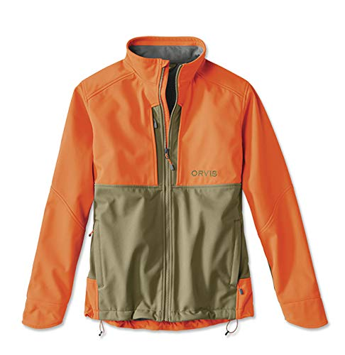 (Orvis Men's Upland Hunting Softshell Jacket, Tan/Blaze, X Large)