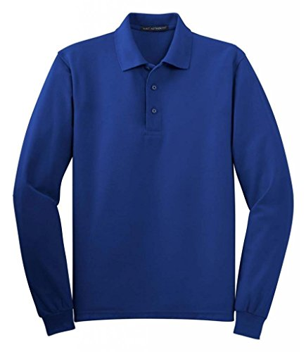 (Port Authority Men's Long Sleeve Silk Touch Polo. L Royal)