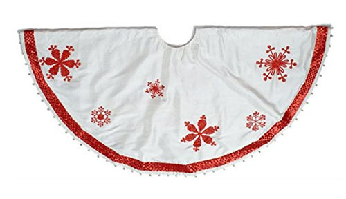 Arcadia Home Ivory Silk Christmas Tree Skirt with Red Beaded Snowflakes