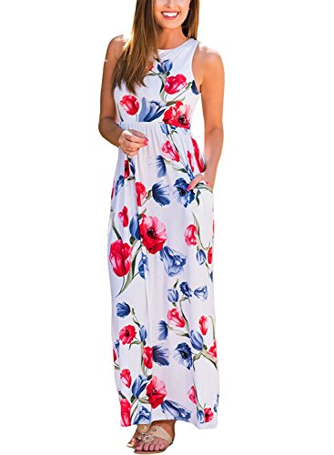 Vestidos para Mujer de Verano Boho Maxi Largo Cuello Redondo Vestido de Fiesta de Noche Vestido de Playa Sundress Blanco