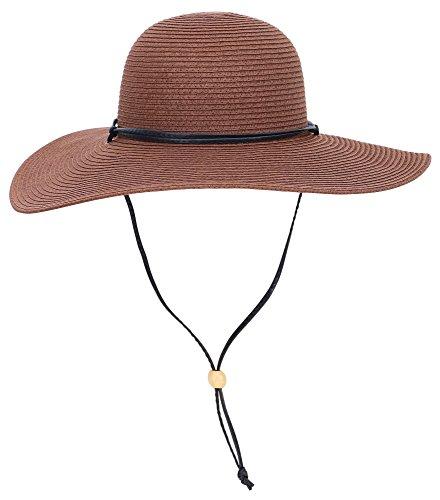 Livingston Women's UPF 50+ Wide Brim Braided Straw Sun Hat w/Lanyard,Dark Brown