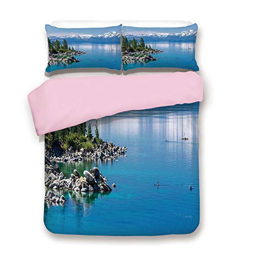 /FULL Size/Blue Waters of Lake Tahoe Snowy Mountains Pine Trees Rocks Relax Shore/Decorative 3 Piece Bedding Set with 2 Pillow Sham/Best Gift For Girls Women/Light Blue Green Grey ()