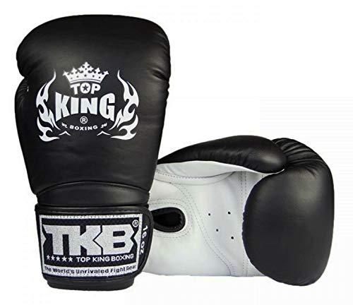 Top King Muay Thai Boxing Gloves TKBGSA Super Air MMA UFC Kick Boxing K1 Training Punching Gloves (White/Black/Black, 14 oz)