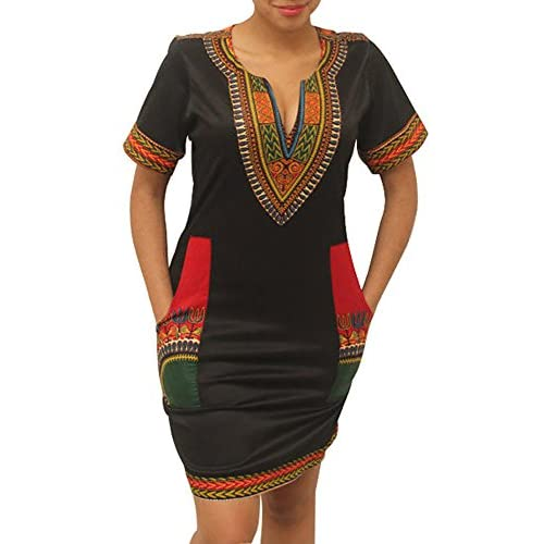 Beautife Plus Size Women Traditional African Print Dashiki Bodycon Short Sleeve Dresses free shipping