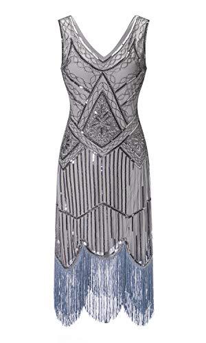 S-3xl Women's 1920s Gatsby Cocktail Sequin Beaded V-Neck Fringed Tassels Hem Flapper Dress (S, Grey) -
