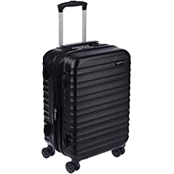 Travel Junkie 41W5-duvLkL._SS247_ Amazon Basics Hardside Carry-On Spinner Suitcase Luggage - Expandable with Wheels - 21 Inch, Black