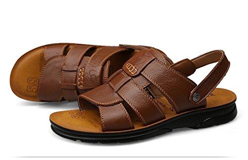 pelle da NANXIE Cachi Khaki Nero uomo da Scarpe Pantofole Pakamo Scarpe e infradito In passeggio Primavera Estate Comfort Sandali Marrone rqqX6FwUx