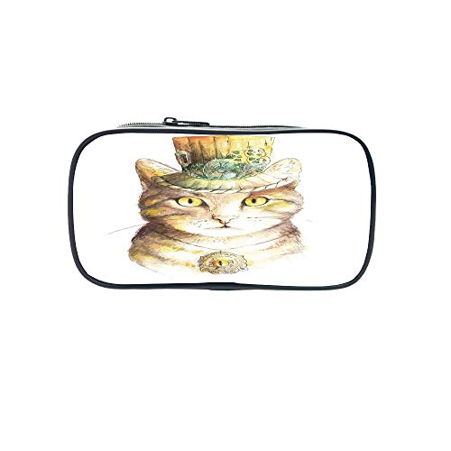 (Polychromatic OptionalPen Bag,Cat Lover Decor,Bad Gang Cat in Jail Kitty Under Arrest Criminal Prisoner Hangover Artsy Work,Brown Black White,for Kids,Diversified Design.8.7