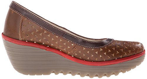 FLY London Yare597Fly - Tacones Mujer Brown (Camel/Dk Brown/Red)