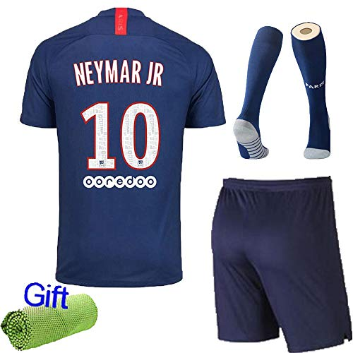 New Fi 2019/20 New Football Kits Soccer Club Jersey Strip Kids/Adults Short Sleeve Shirt Shorts Socks with Free Ice Face Cloth Team Suits (11-12 Years, Neymar JR ()