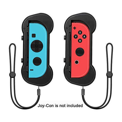 LREGO Grips for Nintendo Switch Joy-Con, Perfectly Fit Motion Sensing Games like Mario Tennis Aces, ARMS and etc - Black(1 Pair) (Switch Arm)