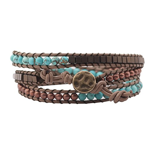 Genuine Leather Wrap Bracelet Bangle Cuff Rope Natural Stone Bead 3 Wrap Adjustable with Extra Free Gift MOJO JEWELRY (Bronze and Turquoise) Turquoise Bronze