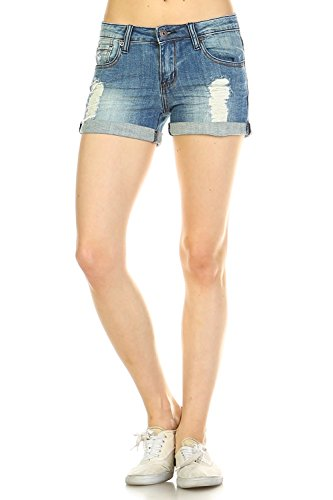 - Vialumi Women's Distressed Cuffed Stretch Denim Jean Shorts Faded Blue Large