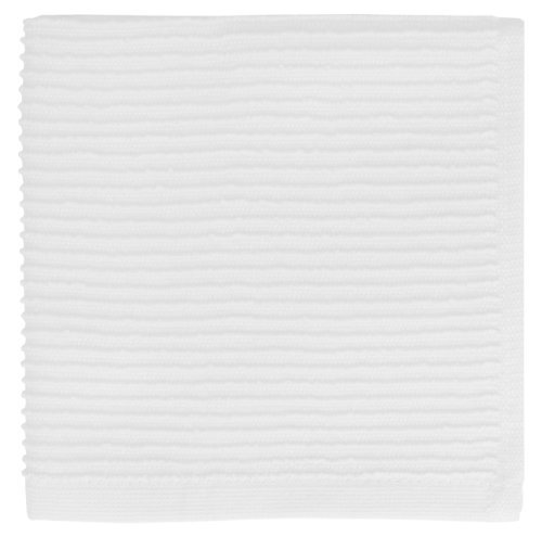 MUkitchen Ridged Texture 100% Cotton Dishcloth, 12 by 12-Inches, White